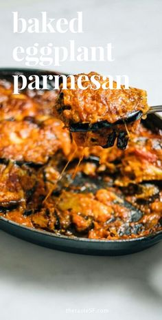 This easy flavorful baked eggplant parmesan is a simple and healthier alternative to the typical fried version. Add this course to your Italian dinner party and your friends will be passing it around the table, but it will be gone in no time! It's so good!! #italian #italiandinnerparty #eggplant #recipe #healthy #food #vegetarian