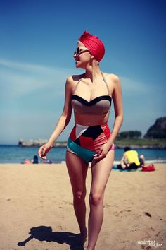 geometric high waisted 50s style bikini by Boodwah- This is so perfect