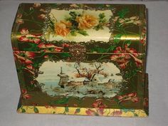 Victorian Celluloid Upright Cabinet Card/Postcard Box with Winter Holiday Scene & Klein Style Roses