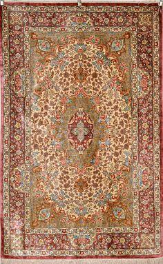 Qum Khosh Nejad Silk Persian Rug - Item# Size: 97 x 152 (cm) 2 x 11 (ft) Persian Carpet, Persian Rug, Modern Carpet, Carpet Runner, Rugs On Carpet, Interior Architecture, Bohemian Rug, Antiques, Wallpaper