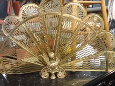 sale brass peacock style  fireplace screen with by STARSTRUCKGEM, $64.95