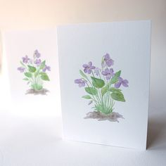 This beautiful set of note cards features a watercolor painting I did of wood violets. I love the delicate markings of these tiny spring flowers. The botanical name of this violet is 'Viola sororia'. Watercolor Paper, Watercolor Paintings, Violet Tattoo, Contemporary African Art, Art Impressions, Art Drawings, Drawing Art, Drawing Ideas, Beautiful Textures