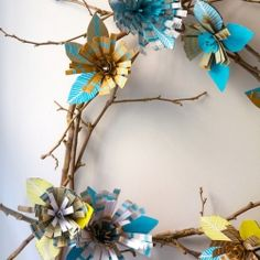 Summer inspired Christmas wreath using recycled material.