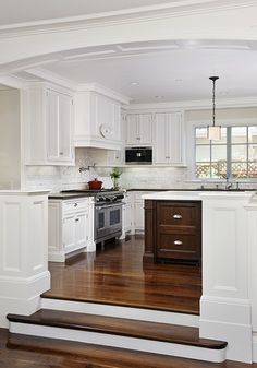 Every kitchen remodel starts with a design idea. Browse our kitchen remodel ideas gallery with traditional to modern to beachy kitchen design inspirat. Brown Family Rooms, Kitchen Inspirations, Sunken Living Room, Home, Kitchen Remodel, Half Wall Kitchen, Kitchen Dining Room, Kitchen Redo, Home Kitchens