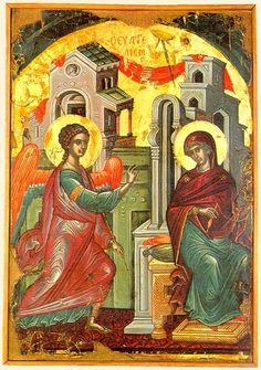 Ευαγγελισμός της Θεοτόκου Καλλιτέχνης: Θεοφάνης ο Κρης (Στρελίτζας ή Μπαθάς) Χρονολόγηση: 1546 Υλικό: Ξύλο, αυγοτέμπερα Διαστάσεις: 44 x 38 εκ..