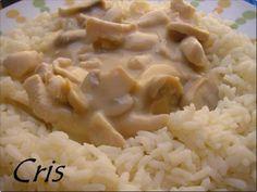 Solomillo de pollo en salsa con arroz blanco (thermomix)