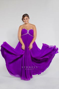 Plus Size Strapless chiffon empire with ruched bodice and chunky beading