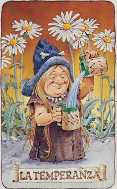 Temperance - Tarot of the Gnomes by Antonio Lupatelli. This card symbolizes one of the stages of the Fool's Journey towards self-discovery. The Fool stands for all of us. For more information, visit me at: * Whimsy but Wise *. Divination Cards, Tarot Cards, Forest Creatures, Fantasy Creatures, Temperance Tarot, Sun And Moon Tarot, Fortune Telling Cards, Kobold, Tarot Major Arcana