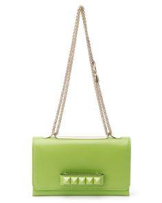 Valentino 'Va-Va-Voom' Leather Shoulder Bag - I love Apple Green accessories.
