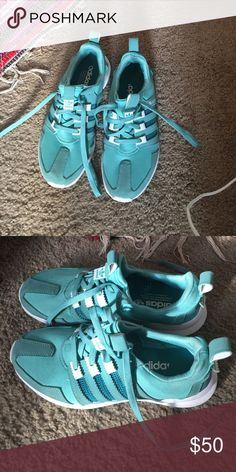 Size 7 1/2 women's adidas shoes These shoes have been worn slightly very minimal wear! I love these they are a turquoise light blue color they just don't fit me anymore size 7 1/2 women's adidas. Adidas Shoes Athletic Shoes