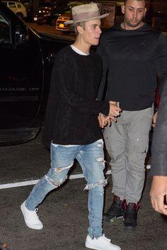 Justin Bieber wearing Faded Lifestyle Long Slim Shirt Hemless, Fear of God 4th Collection Selvedge Denim Vintage Indigo Jean, Vans Authentic Sneaker, Nick Fouquet 276 Hat