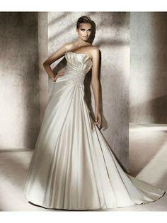 Satin A-Line Strapless Softly Curved Neckline Pleated Bodice Wedding Dress