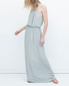 LONG DRESS WITH APPLIQUÉ NECKLINE-View all-Dresses-WOMAN | ZARA United States