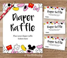 Delightful Diaper Raffle Baby Shower Game   Disney Theme Baby Shower   Disney Baby  Shower   Gender Neutral Baby Shower   005