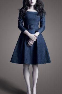 Very flattering neckline. Dark Blue Denim Long Sleeves Dress