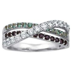 Sterling Silver Simulated Birthstone Shimmer Wrap Band by ArtCarved® (3 Stones)