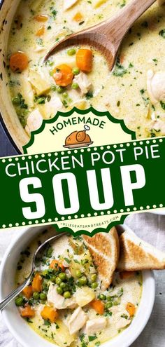 This Homemade Chicken Pot Pie Soup is a delicious recipe for dinner full of vegetables and chicken. This hearty comfort food recipe is a retake on the classic pot pie except so much easier to make… Chicken Pot Pie Stew Recipe, Chicken Recipes, Best Soup Recipes, Dinner Recipes, Yummy Recipes, Thanksgiving Dinner Menu, Homemade Chicken Pot Pie, Soups And Stews, Yummy Food