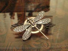 Steampunk Dragonfly Barrette in Silver: