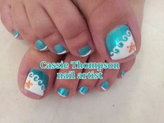 Beach themed French pedicure for the bride to be by Cassie Thompson, nail artist. - Beach themed French pedicure for the bride to be by Cassie Thompson, nail artist of Vancouver WA. Beach Toe Nails, Beach Themed Nails, Beach Pedicure, Summer Toe Nails, Manicure And Pedicure, Beach Nail Designs, Pedicure Designs, Toe Nail Designs, Pedicure Ideas