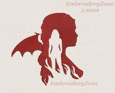 Game of Thrones Daenerys Targaryen silhouette Embroidery design. 3 sizes. Hoop 4x4 5x7 6x10.Fire and Blood.