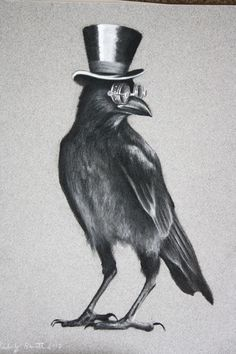 CROW WITH HAT AND GLASES