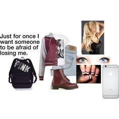 outfit #379 by mbvs on Polyvore featuring OBEY Clothing, Abercrombie & Fitch, Dr. Martens, Victoria's Secret PINK and GHD