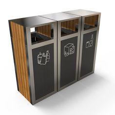 KUOKIO Multi-Stream Recycling Bin for Exterior Areas