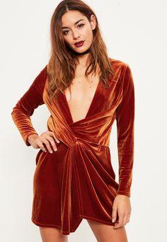 Orange Velvet Wrap dress | #Chic Only #Glamour Always