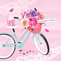 Debbie Edwards - Female Birthday Mothers Day Bike With Flowers In Basket And Present