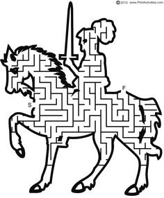 Printable Knight On Horse Maze Games can be printed and is a great free printable item! If you like Printable Mazes then check out our Printable Paper! Mazes For Kids, Activities For Kids, Chateau Fort Moyen Age, Printable Mazes, Free Printable, Knight On Horse, Maze Worksheet, Maze Puzzles, Knight Party
