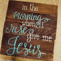 ✨ Ships in 1-2 weeks!  The beautiful wood sign features the saying, in the morning when I rise give me Jesus.  This wood sign would make a wonderful addition to any home! Put it in your kitchen to remind yourself every morning.  .…...DETAILS.....  • 16X16 • dark walnut stain • white and teal font, but other colors are available. • pallet wood planks • hardware attached, ready to hang • freehand painted, no stencils  *All sizes are approximate, pallet wood varies in width if planks*  This…