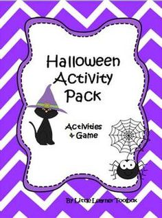 Halloween activity pack full of morning work sheets, a mini book, word family worksheets, a cut and color craft activity and a board game! $