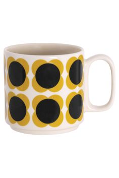 Orla Kiely House - Large Mug - Flower Spot Slate/Yellow, Myer