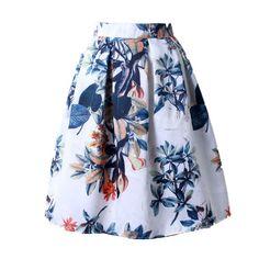 Owlprincess 2016 Summer Women Vintage Retro Satin Floral Pleated Skirts Audrey Hepburn Style High Waist A-Line tutu Midi Skirt