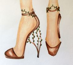Au-naturel Shoe designs by American Valeria Galvan on Advertising Industry, Shoe Designs, Galvan, Stuart Weitzman, Designer Shoes, Illustrations, Artists, Sandals, American