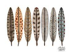 Terra plumas colección imprimir, imprimir arte giclee, impresión de la acuarela, Ilustración de plumas de pájaro, plumaje
