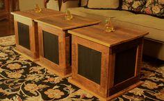 Storage Cube Coffee Table, Rustic / Contemporary, Maple & Black Finish - Handmade