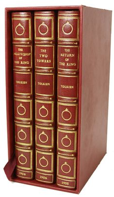 """Tolkien's """"The Lord of the Rings"""" in it's most expensive edition - first editions set in full crimson levant morocco by Bayntun-Riviere - GBP 12.000"""