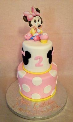 baby Minnie polka dot birthday cake