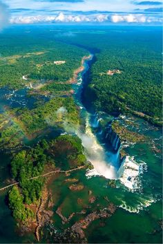 The largest waterfall system of the world is some kilometers long, with the deepest drop being 82 meters. Located on the Argentinian-Brazilian border it is part of national parks on both sides. Beautiful Waterfalls, Beautiful Landscapes, Beautiful Places To Travel, Beautiful World, Brazil Travel, Aerial View, Nature Pictures, Amazing Nature, The Great Outdoors
