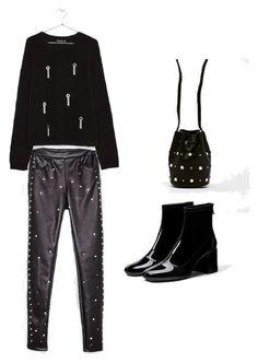 Total Black by keepfashion92 on Polyvore featuring moda, Bershka, black, rock and totalblack
