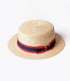Retro Style Nautical Straw & Striped Ribbon Boater Hat
