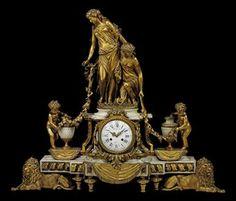 A LARGE NAPOLEON III ORMOLU AND WHITE MARBLE FIGURAL MANTEL CLOCK  BY RAINGO FRÈRES, PARIS, THIRD QUARTER 19TH CENTURY