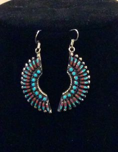 Native American Jewelry Sterling Silver Zuni Tribe Needlepoint Turquoise and Coral Dangle Earrings by AZNativeTreasures on Etsy
