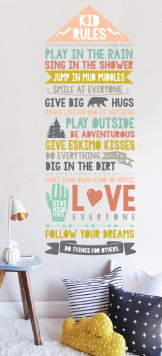 The Lovely Wall Co. Kids Rules - Decal Multi Color Primary