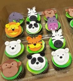 Jungla Safari Zoo animales Fondant Cupcake por CakeTopperChic