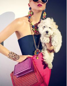 """oscarprgirl: """"she wants to live the fabulous life. (Oscar de la Renta jewelry, from Net-A-Porter's Spring Summer 2012 magazine) """" 2014 Fashion Trends, Lady And The Tramp, I Love Jewelry, Silver Jewelry, Fashion Games, Girls Best Friend, Couture Fashion, Fashion Photography, Street Style"""