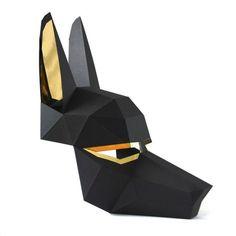 ANUBIS Mask - Easy to make Egyptian mask - Make a Low-Poly paper mask Egyptian Mask, Low Poly Mask, Mask Template, Diy For Men, Animal Masks, 3d Paper, Paper Craft, Diy Mask, Mask Making