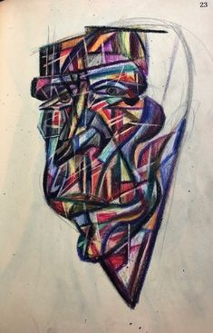 Cubist face Student sketchbook 1946-1950 Abstract Art, Student, Face, Faces