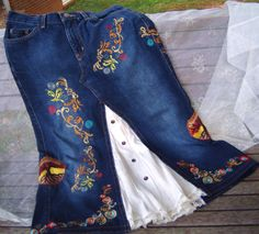 embroidered jean skirt. Idea for when the crotch blows out of perfectly good jeans.